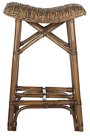 Woven Wicker Bar Stool, Natural Brown, large