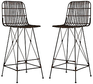 Wicker Wicker Bar Stool (Set of 2), Coco Brown, large