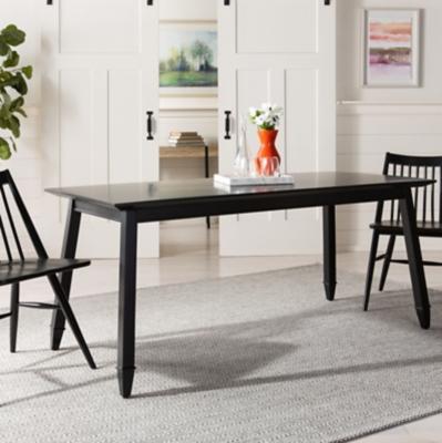 Carrie Black Rectangular Dining Table, Black, large