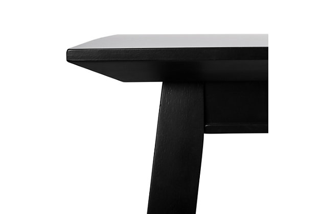 Carrie Black Rectangular Dining Table, Black, large