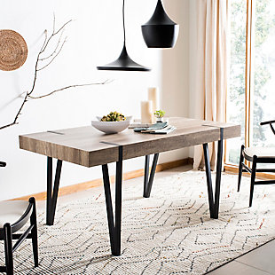 Austin Rustic Midcentury Wood Top Dining Table, , rollover