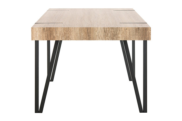 Austin Rustic Midcentury Wood Top Dining Table, , large