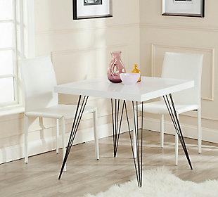 Retro Mid Century Square Lacquer Accent Table, White/Black, rollover