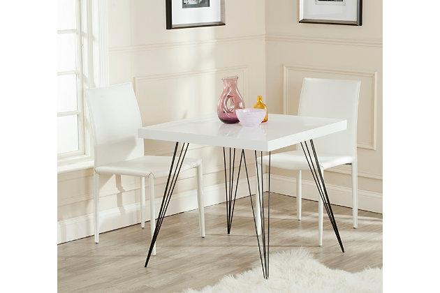 Retro Mid Century Square Lacquer Accent Table, White/Black, large
