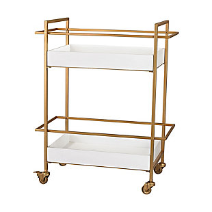 ELK Rolling Kline Bar Cart in White and Gold, , large