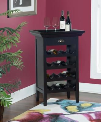 Powell Ava Black and Merlot Wine Cabinet, , large