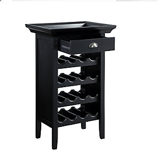 Powell Ava Black and Merlot Wine Cabinet, , large