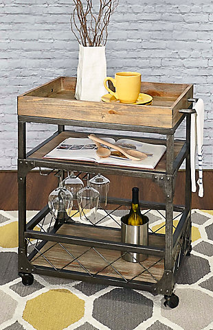 Powell Rolling Sawyer Bar Cart, , rollover