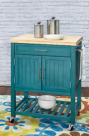 Powell Rolling Kade Teal Kitchen Cart, , rollover