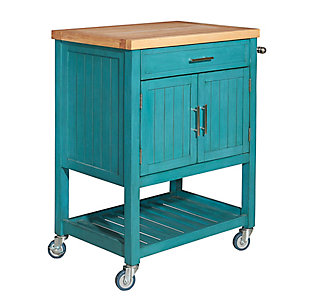 Powell Rolling Kade Teal Kitchen Cart, , large