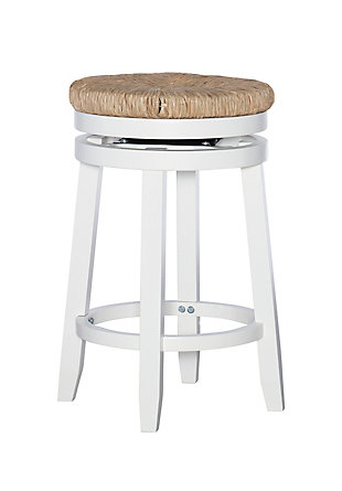 Powell Sea Grass Swivel Counter Height Bar Stool, White, large