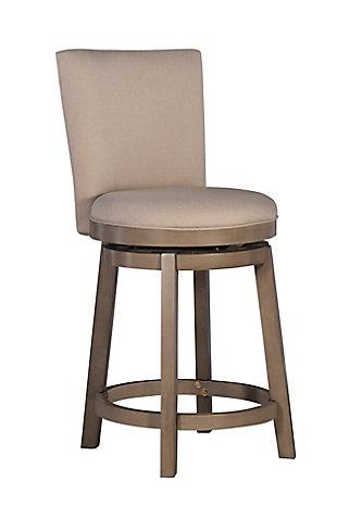 Powell Upholstered Jordan Counter Height Bar Stool, White, large