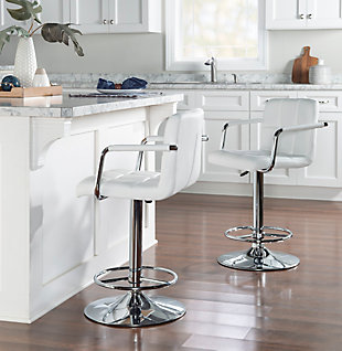Powell Chrome  Quilted Adjustable Height Bar Stool, White, rollover