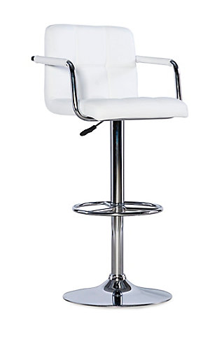 Powell Chrome  Quilted Adjustable Height Bar Stool, White, large