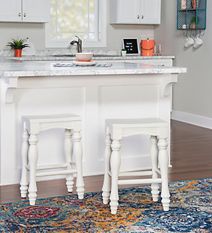 Powell Rubberwood Counter Height Bar Stool (Set of 2), White, rollover