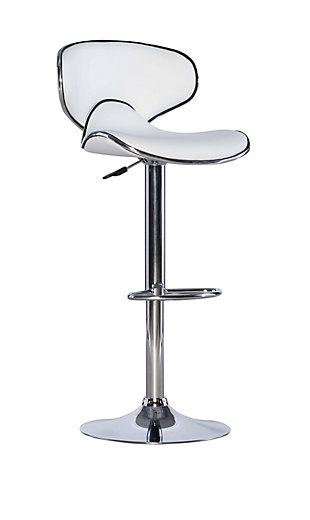Powell Chrome  Adjustable Height Bar Stool, White, large