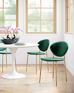Zuo Modern Clyde Dining Chair (Set of 2), Green/Gold, rollover