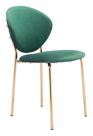 Zuo Modern Clyde Dining Chair (Set of 2), Green/Gold, large