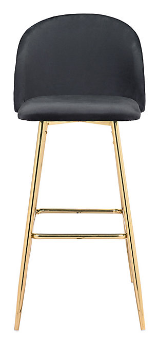 Zuo Modern Cozy Bar Stool, Black, rollover