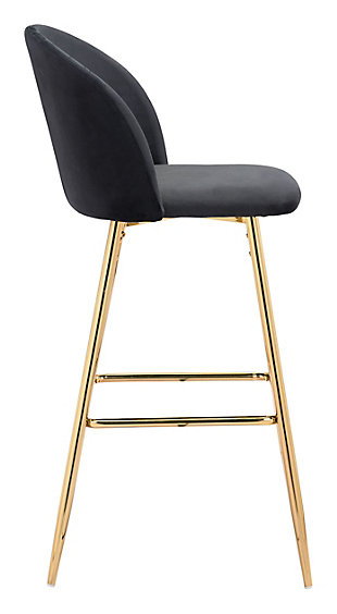 Zuo Modern Cozy Bar Stool, Black, large