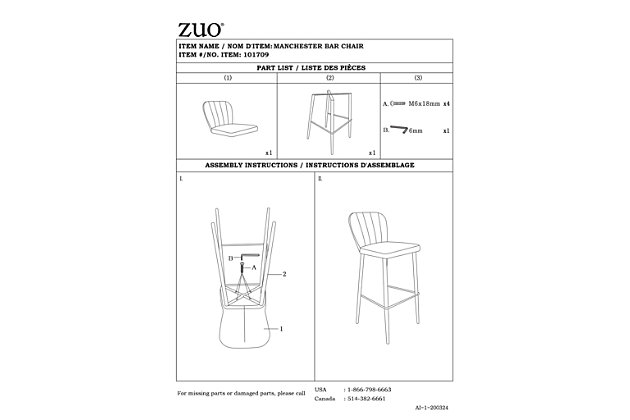 Zuo Modern Manchester Bar Stool, , large