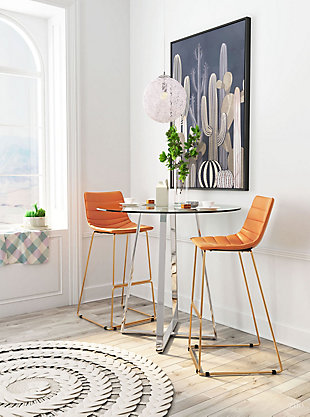 Zuo Modern Adele Bar Stool, Orange/Gold Finish, rollover