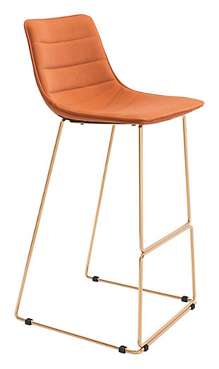 Zuo Modern Adele Bar Stool, Orange/Gold Finish, large