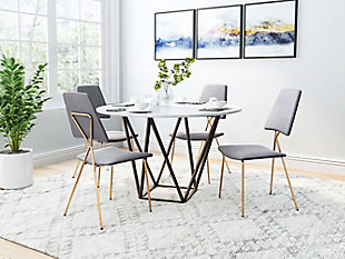 Zuo Modern Chloe Dining Chair (Set of 2), Gray/Gold Finish, rollover