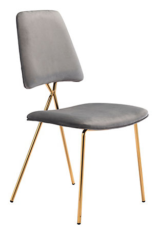Zuo Modern Chloe Dining Chair (Set of 2), Gray/Gold Finish, large