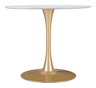 Zuo Modern Opus Dining Room Table, White/Gold Finish, large