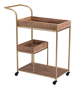 Zuo Modern Bar Cart With Tray Brown, , rollover