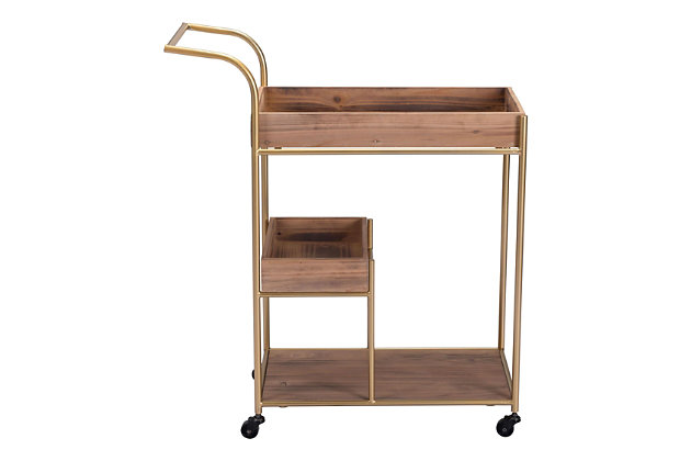 Zuo Modern Bar Cart With Tray Brown, , large