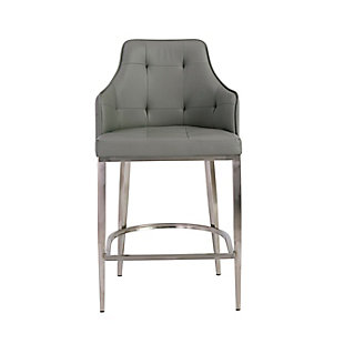 Euro Style Aaron Bar Stool in Gray with Brushed Stainless Steel Legs, Gray, large
