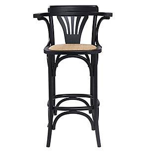 Euro Style Adna Counter Stool in Black with Cane Seat in Natural, Black, rollover