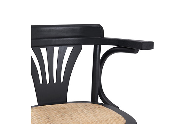 Euro Style Adna Bar Stool in Black with Cane Seat in Natural, Black, large