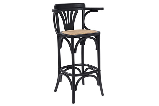 Euro Style Adna Counter Stool in Black with Cane Seat in Natural, Black, large
