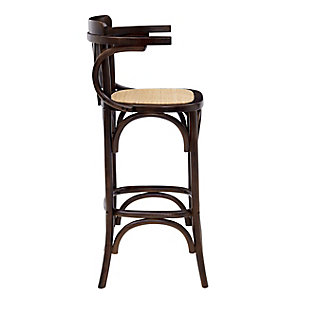 Euro Style Adna Counter Stool in Walnut with Cane Seat in Natural, Walnut, large