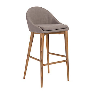 Euro Style Baruch Counter Stool in Dark Gray with Walnut Legs, Dark Gray, rollover