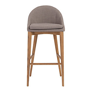 Euro Style Baruch Counter Stool in Dark Gray with Walnut Legs, Dark Gray, large