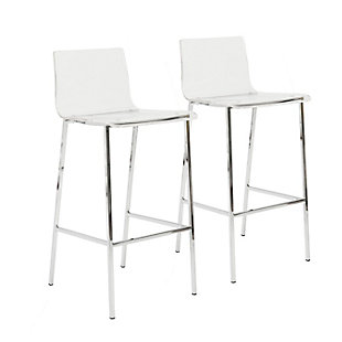 Euro Style Chloe Counter Stool in Clear Acrylic with Matte Brushed Gold Legs (Set of 2), Clear, large