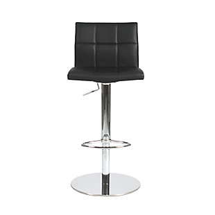 Euro Style Cyd Adjustable Swivel Bar/Counter Stool in Black with Chrome Base, Black, rollover