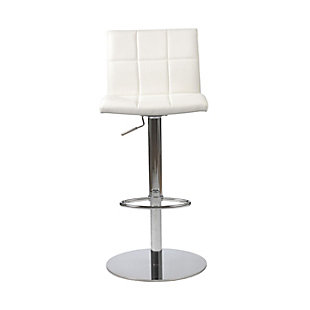 Euro Style Cyd Adjustable Swivel Bar/Counter Stool in White with Chrome Base, White, rollover
