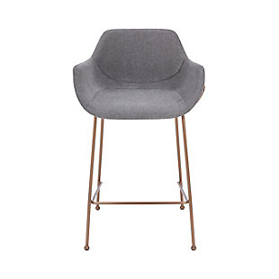 Euro Style Daphne Counter Stool In Light Gray Fabric And Rosegold Legs (Set of 2), Light Gray, rollover