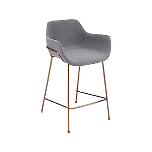 Euro Style Daphne Bar Stool In Light Gray Fabric And Rosegold Legs (Set of 2), Light Gray, large