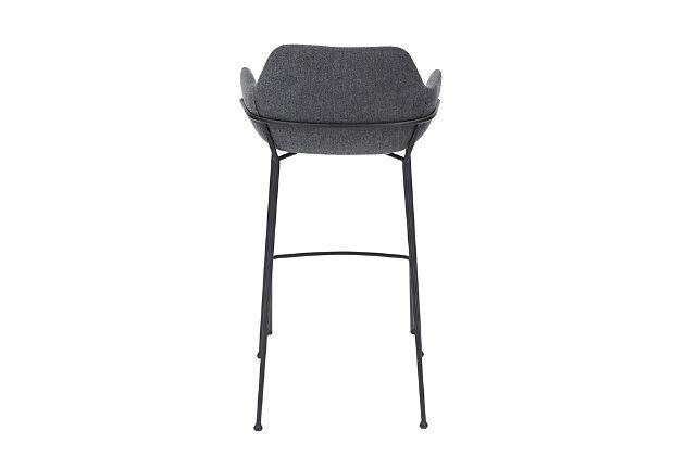 Euro Style Daphne Bar Stool In Dark Gray Fabric And Matte Black Legs (Set of 2), Dark Gray, large