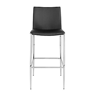 Euro Style Diana Bar Stool in Black with Polished Stainless Steel, Black, large