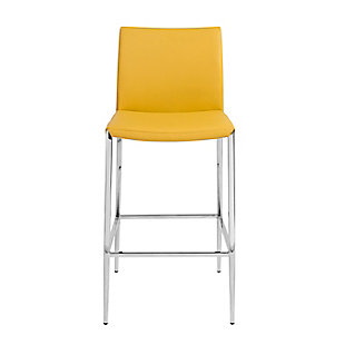 Euro Style Diana Counter Stool in Saffron with Polished Stainless Steel, Saffron, rollover