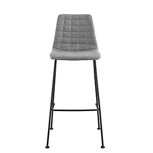 Euro Style Elma Counter Stool In Light Gray Fabric with Matte Black Frame and Legs (Set of 2), Light Gray, large