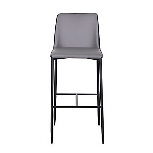 Euro Style Hardy Counter Stool in Gray Leatherette and Dark Gray Fabric with Black Legs, Gray, large