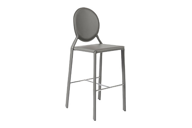 Euro Style Isabella Bar Stool in Gray with Polished Stainless Steel Foot Rest (Set of 2), Gray, large
